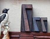 """Vintage antique letterpress """"777"""" lucky sevens set of 3 wood block hand carved wood / big letter Mothers Day/ big number seven"""