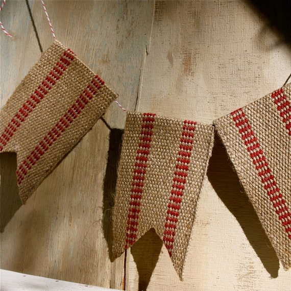 Black Friday Etsy Cyber Monday Etsy Handmade Vintage style rustic red burlap banner holiday garland waldorf