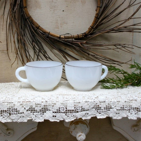 S.A.L.E. 30 % off: Vintage pair of gold rimmed milk white tea cups mid century retro winter white