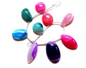 9 pieces of multi colour Stripted Agate beads , smooth polished , fine quality Cabochons , full strand of banded Agate beads