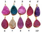 24 kt. Gold Plated Druzy Pendants , 1 piece of multi colour fine quality druzy gem stone Dangle Pendants