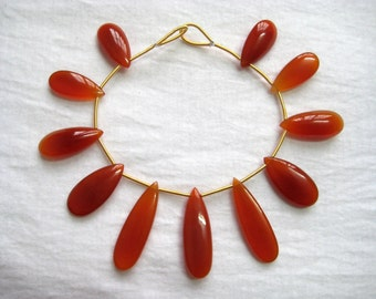 Full strand of Gorgeous Red Onyx Extra Long Plain Top Drilled Briolette Tear Drop Bead , 11 pieces neckalce Natural smooth polished beads