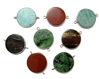 1 piece of huge flat disc 30 mm round plain 925 Sterling Silver Bezel Connectors station link , amazonite , ziosite , tiger iron , red agate
