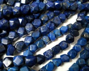 Half Strand of Natural Lapis Lazuli Faceted Beads Strands , Super Polish , Faceted Square Shape Beads , 5 t0 9 mm size beads in a line