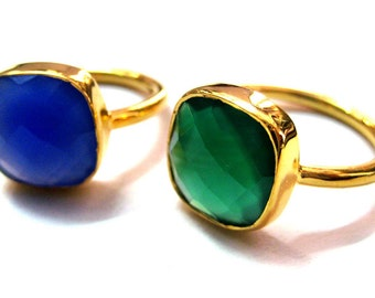 24kt. Gold Plated 925 Sterling Silver Onyx Gemstone Stackable Rings 12x12 mm cushion shape chekker cut faceted gem beautiful engagement gift