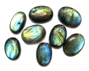 Fine Quality Multi Colour Flashy Labradorite Gemstone Cabochon pieces lot , Multi fire labradorite Oval cabochons used in jewellery making