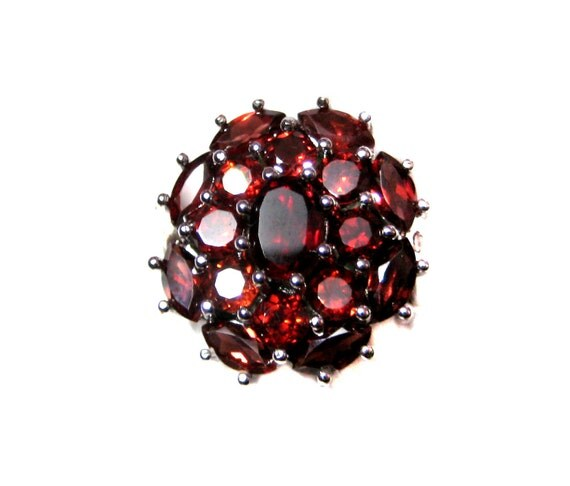 Huge 925 Sterling Silver Ring studded Fine Quality Faceted Garnet Gemstones , Rodhium Plated Ring , Nice Mother's Day Gift