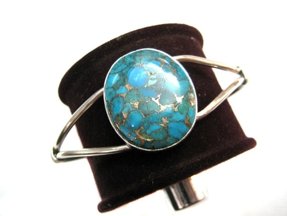 925 Sterling Silver Cuff Bracelet studded fine quality Blue Copper Turquoise Oval Shape Cabochon , Green Mohave turquoise Cuff Bracelet