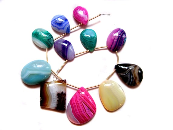 11 pieces of multi colour Stripted Agate beads , smooth polished , fine quality Cabochons , full strand of banded Agate beads