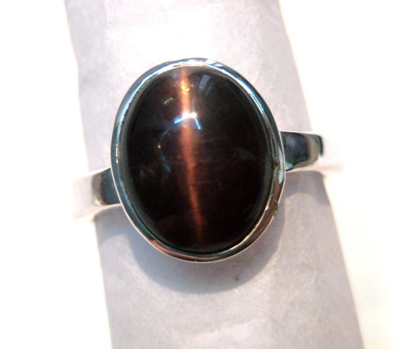 Natural Cats Eye 925 Sterling Silver Ring , Brown Cats Eye Gemstone cabochon Ring , beautiful gift