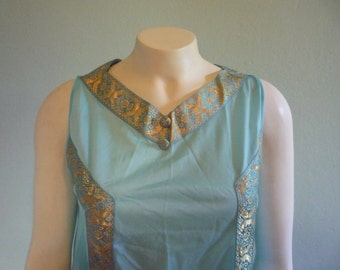 Vintage Roman goddess gold trimmed nightgown