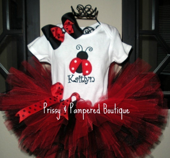 Red Ladybug Tutu Set By Prissypampered On Etsy