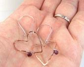 Rustic Heart Earrings Hammered Copper Earrings Affordble Jewelry Genuine Garnet Gemstones Sterling Silver Everyday Casual