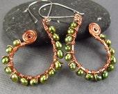 Green Pearl Hoop Earrings Hammered Copper Earrings Bohemian Copper Earrings Sterling Silver Ear Wires