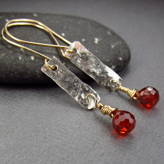 Long Red Gold Earrings Hammered Sterling Silver Earrings & Gold Earrings Artisan Earrings Rustic Boho Chic Jewellry Mother's Day Gift