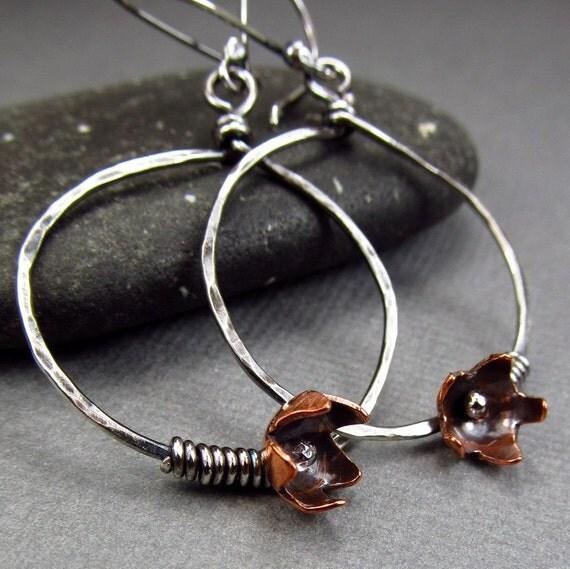Unique Modern Metalwork Earrings Rustic Hoop Earrings Silver Flower Earrings Hammered Metal Hoop Earrings Artisan Earrings Bohemian