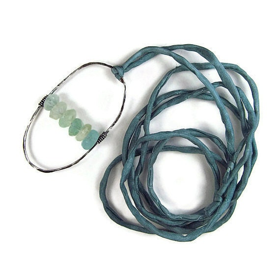 Plus Size Necklace Teal Silk Necklace Hammered Oxidized Silver & Rough Green Gemstone Pendant Bohemian Jewelry Boho Chic