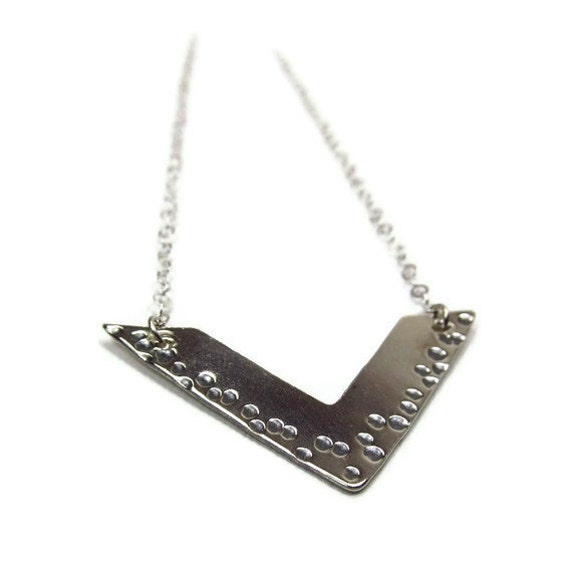 Silver Chevron Necklace Geometric Necklace Handcrafted Jewelry Mother's Day Gift Triangle Pendant Tribal Necklace