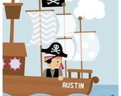 children's wall art. pirate ship. personalized 8 x 10 print
