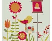 garden birdhouse. 11 x 14  art print. ready to frame
