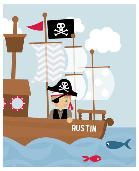 Pirates Kids Wall Decal: Items Similar To Children's Wall Art. Pirate Ship