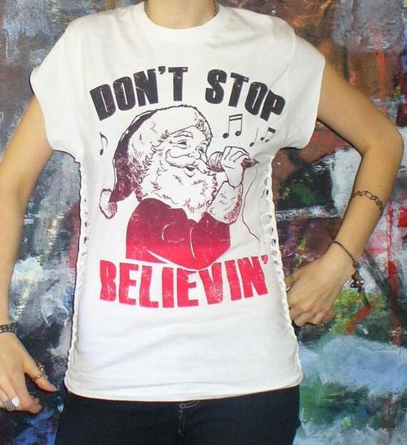 Reserved for Lisa - Journey Don't Stop Believin' Shredded Weaved/Braided Custom Deconstructed T shirt  Santa Singing