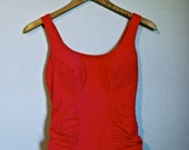 SALE - 20% OFF, Ruched 1940's Vintage Swimsuit