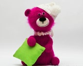 Pink bear - crochet and felted animal - One of a kind - Made to order