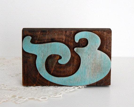 Aqua Letterpress Ampersand