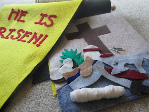 Easter Banner: Felt Bible Story Banner activity for children to learn about Jesus' death and resurrection