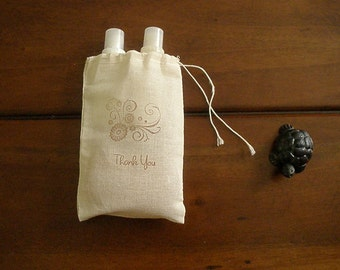 """Muslin Wedding Favor Bags - 25 4x6"""" Hand Stamped Thank You"""