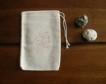 """10 Muslin Favor Bags - 4x6"""" Hand Stamped Cardinal on Holly"""
