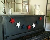 Fourth of July Patriotic Decoration Red White Blue Stars Hand Sewn
