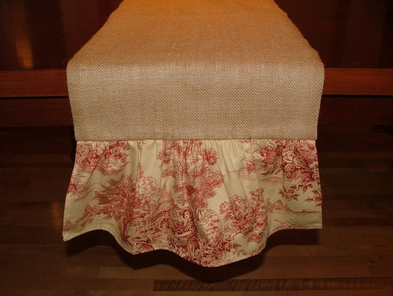 Lined Burlap Table Runner with Red and Ivory Toile Ruffle