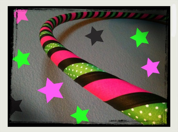 Spring Polka Dot Dance & Exercise Hula Hoop COLLAPSIBLE or Push Button - pink green black