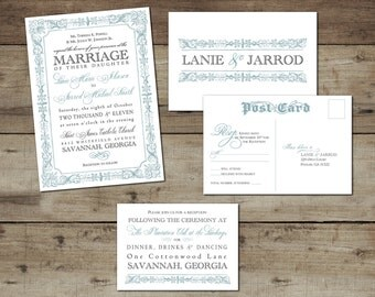 "DIY Custom Printable ""French Country"" Wedding Invitation Suite"