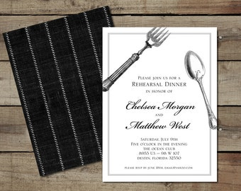 "DIY Custom Printable ""Silverware"" Rehearsal Dinner Invitation"