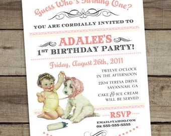 """DIY Custom Printable """"Guess Who's Turning One"""" First Birthday Invitation - GIRL"""