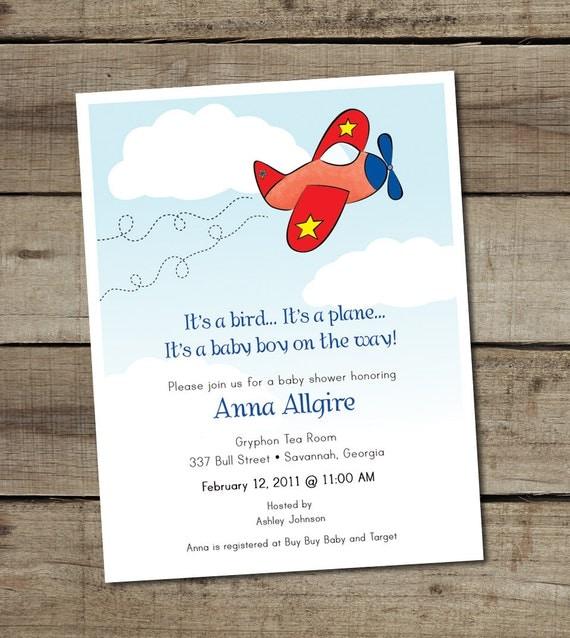 custom printable baby boy airplane baby shower invitation on
