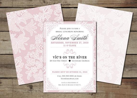 "DIY Custom Printable ""Vintage Lace"" Wedding Shower Invitation"