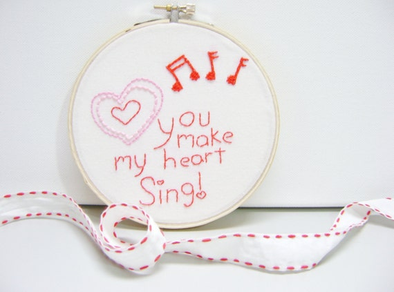 Girls Wall Art Embroidery Hoop Heart Red and Pink Bedroom Decor Handmade by MissSarahMac on Etsy