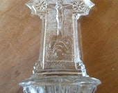 Holy Water Font Victorian Glass Benetier French Religious Icon