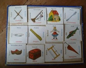 Multilingual Flash Card French Antique Childrens Game with Bingo Sheet Scissors