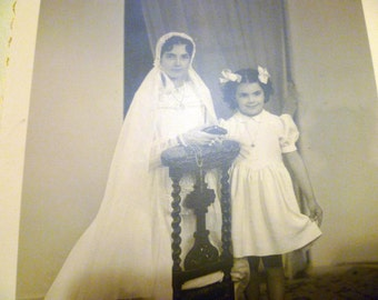 Vintage Photo Photograph Circa 1920s depicting 2 Girls at First Communion Black and White