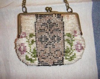 Victorian Micro Bead Work Coin Purse Bag French Antique Treasure