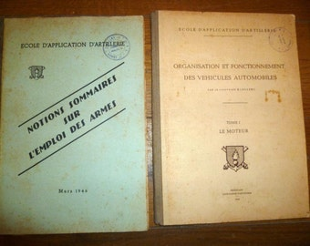 French Vintage Book Pair Artillery School  Guide to Using Arms And Automobiles Cars
