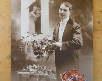 Art Nouveau Postcard Bonne Annee Vintage French Photo You are the One
