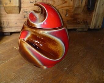 Art Pottery Jar or Pot Made by The French VERCERAM Factory Circa 1960s Flame Lava Glaze Design