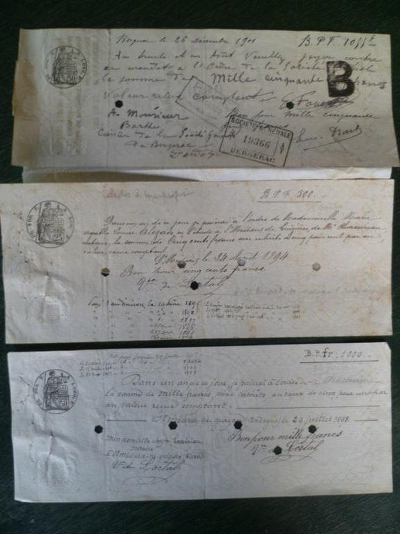 Antique Legal Documents French Bank Papers / Checks Beautifully Hand Written Circa 1900 Vintage Ephermea Papers x 3
