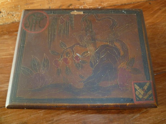 French Chinoiserie Card Game Box Antique / Vintage Papier Mache Art Deco